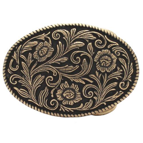 Roped Floral Metal Belt Buckle Antique Brass