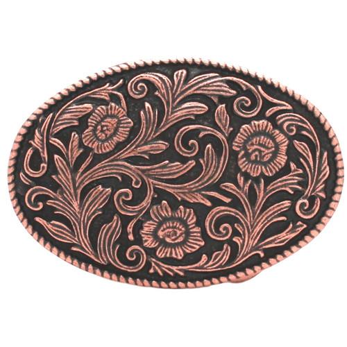Roped Floral Metal Belt Buckle Antique Copper 6005-10