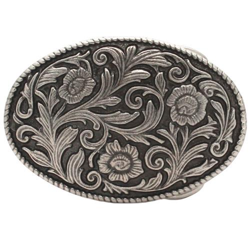 Roped Floral Metal Belt Buckle Antique Nickel