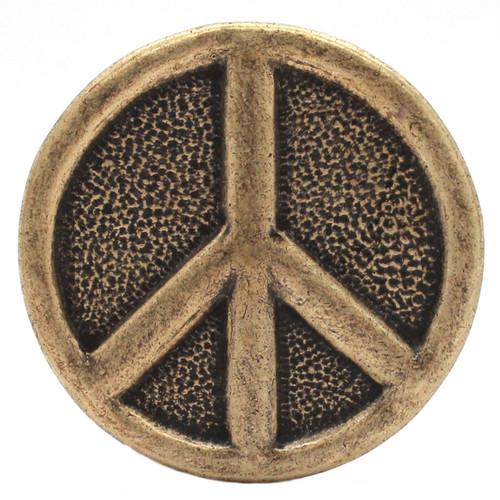 Peace Sign Metal Belt Buckle Antique Brass 6000-09 USA Zinc