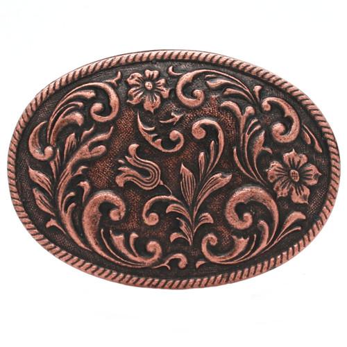 Floral Metal Belt Buckle Antique Copper 6006-10 USA Zinc