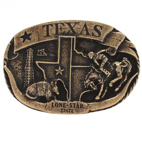Texas Lone Star Metal Belt Buckle Antique Brass 6003-09 USA