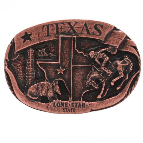 Texas Lone Star Metal Belt Buckle Antique Copper