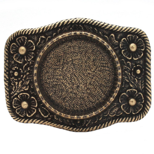 Roped Silver Dollar Metal Belt Buckle Antique brass 6008-09 USA