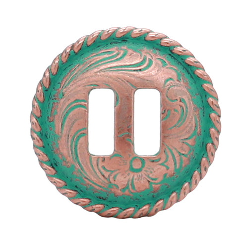 "Copper Patina Slotted Rope Edge Concho 1"" 3484-90S"