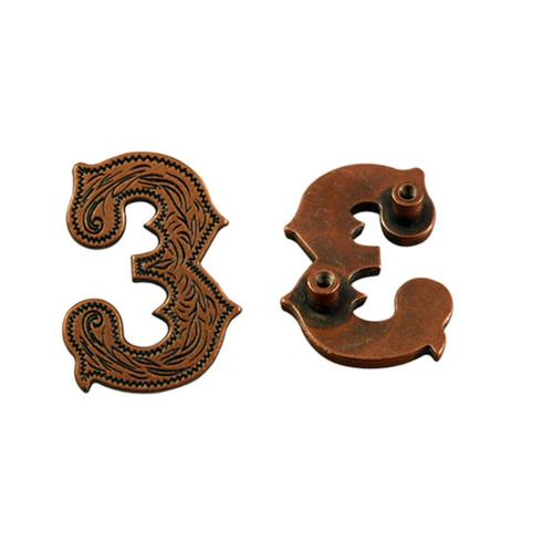 Number 3 Screwback Concho in Antique Copper 1339-303