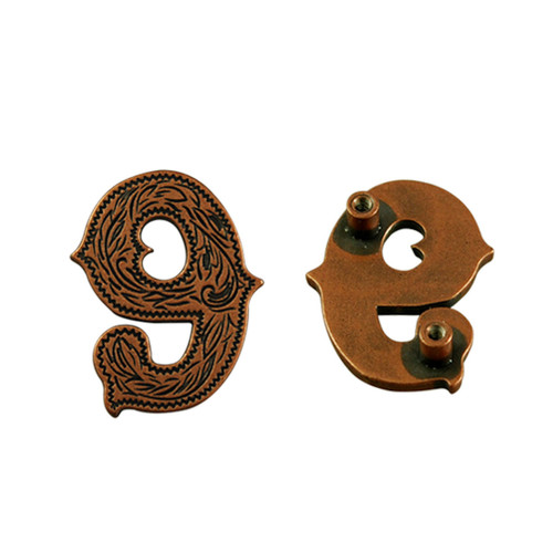 Number 9 Screwback Concho in Antique Copper 1339-363