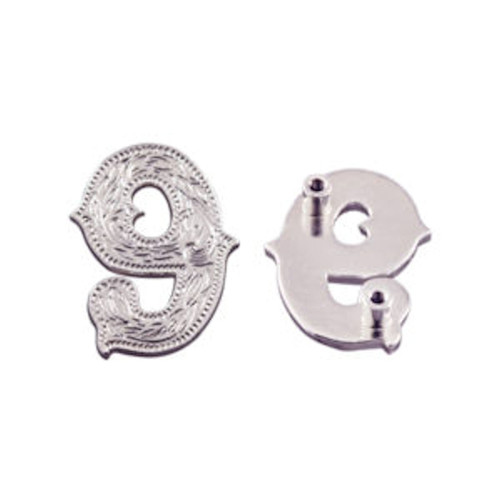 Number 9 Screwback Concho in Shiny Silver 1339-36