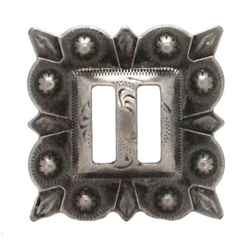 Slotted Square Concho Antique Nickel 1-1/4""