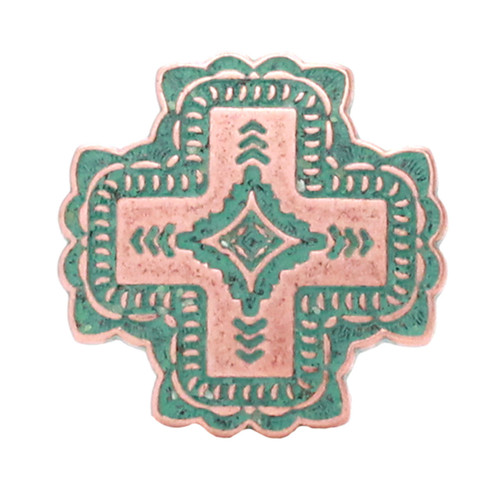 Santa Fe Cross Concho Copper Patina
