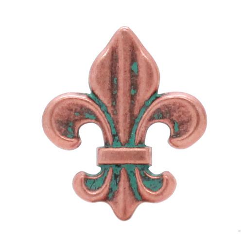"Fleur di Lis Concho Copper Patina 1-3/16"""