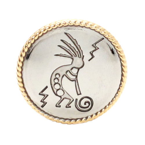 Kokopelli Concho Chrome with Gold Plated Rope Border