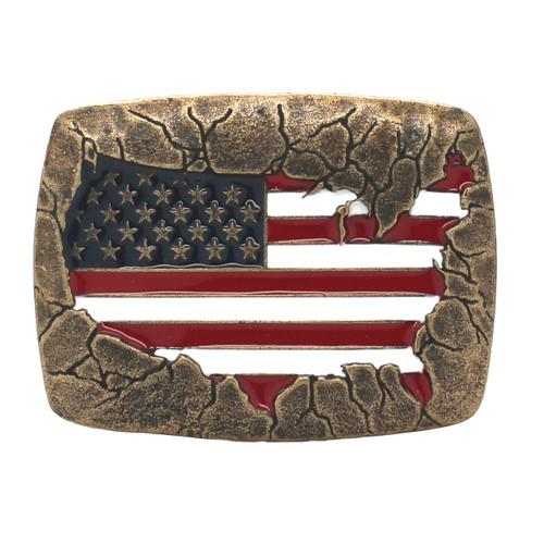 USA Flag Metal Belt Buckle Antique Brass Front