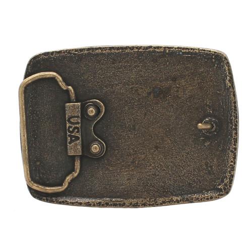 USA Flag Metal Belt Buckle Antique Brass Back