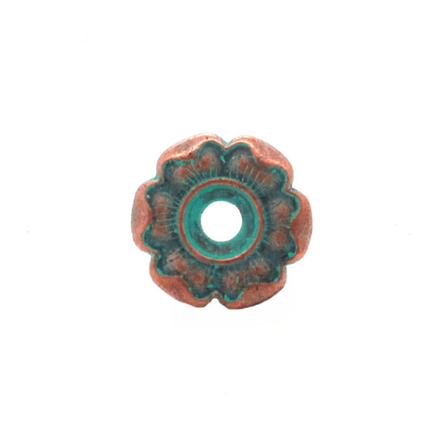 Flower Bezel Concho in Copper Patina Front