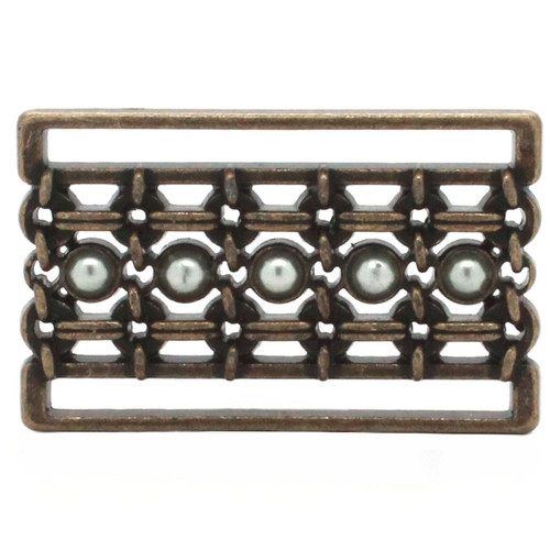 Buckle Slide Pearl Brass Bronze Front