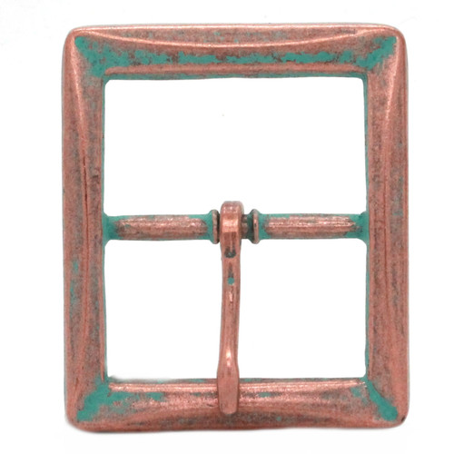 Buckle Center Bar With Beveled Edges Copper Patina Front