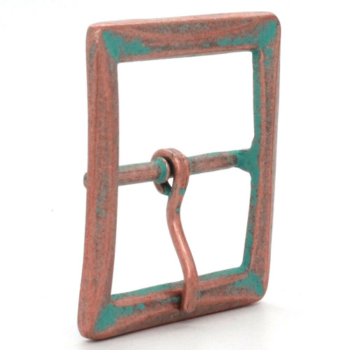 Buckle Center Bar With Beveled Edges Copper Patina Side