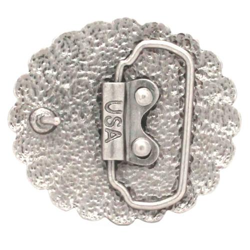 Pinwheel Trophy Belt Buckle Antique Nickel Back