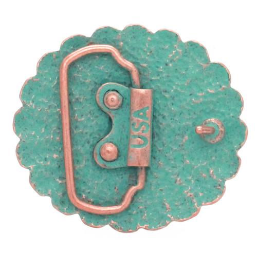Pinwheel Trophy Belt Buckle Copper Patina Back