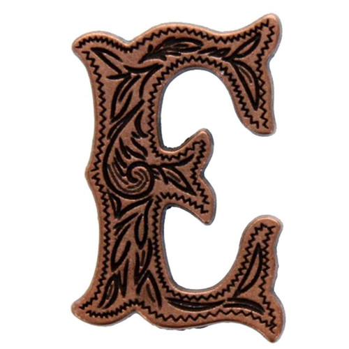 "Alphabet Letter E Concho Antique Copper Plated 3/4"" Tall"