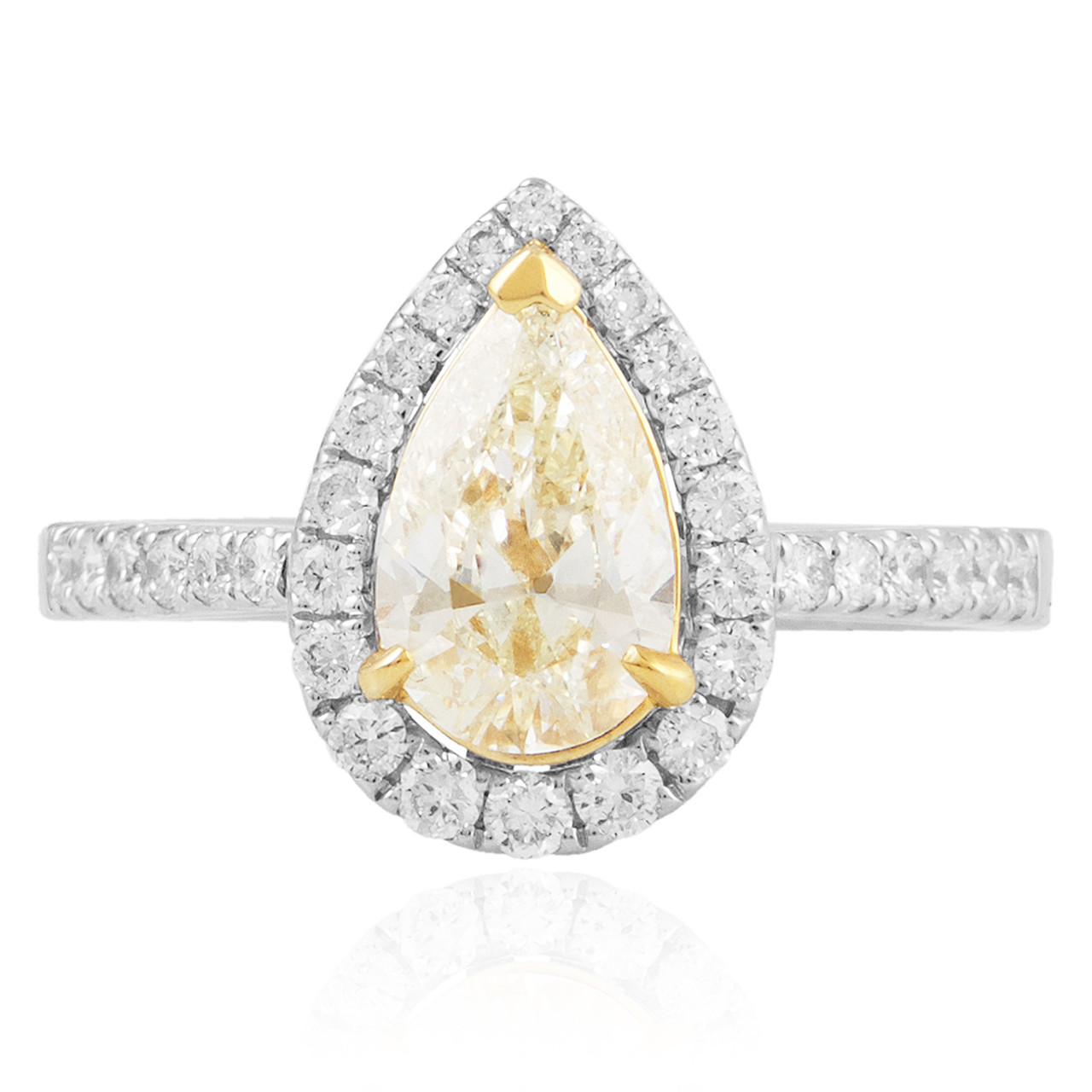 18K White Gold 1.45ct Pear Shape Canary Diamond Engagement ...