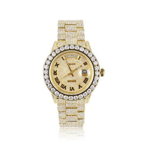 Rolex Day Date 18k Yellow Gold 30ct Roman Numeral Diamond