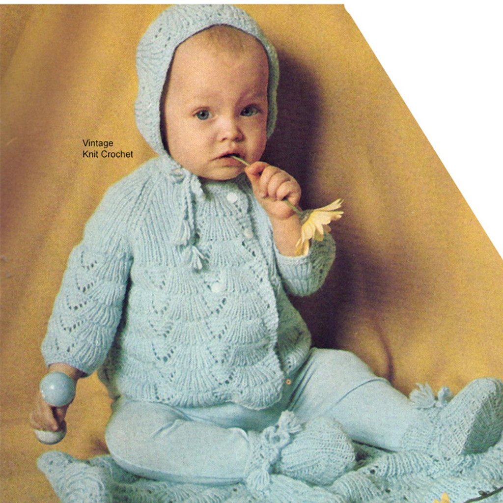 Knitted Baby Sacque set with  leggings.