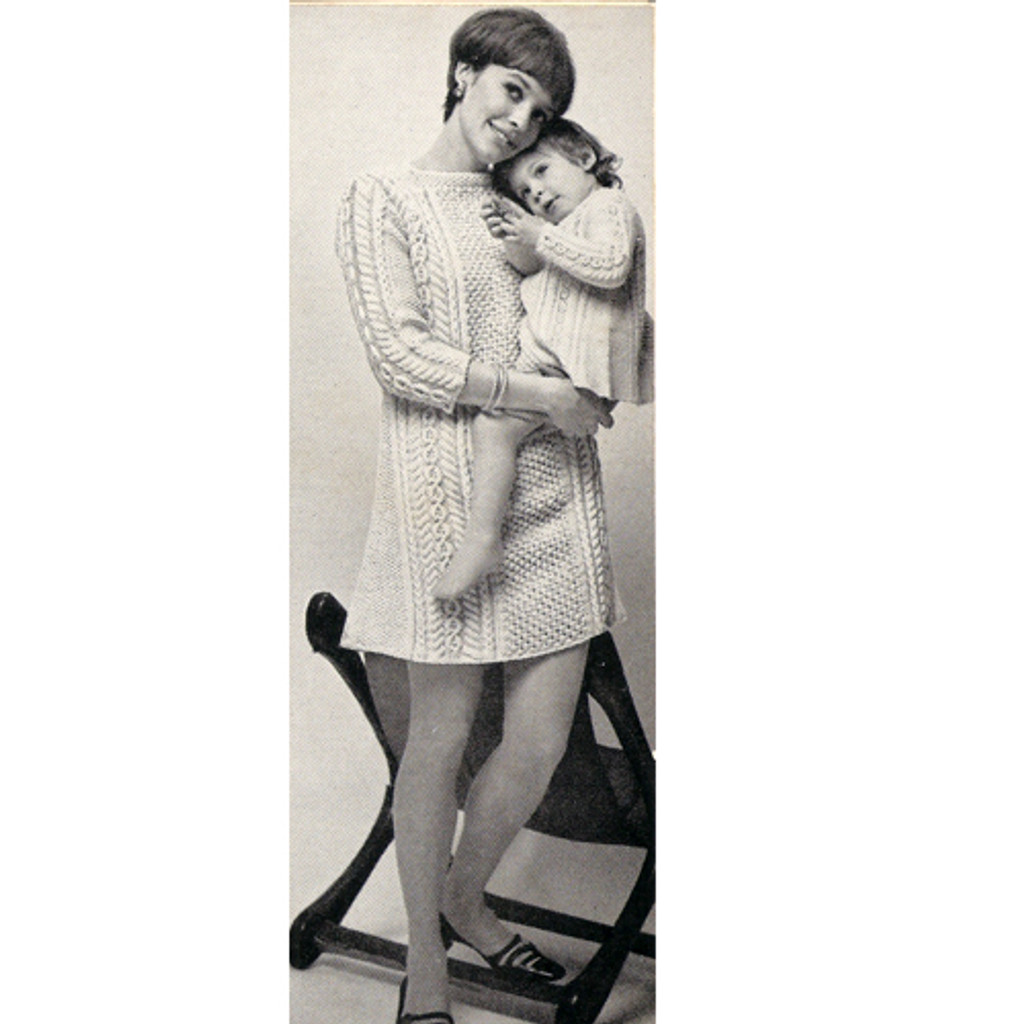 Vintage Aran Knit Sweater Dress Pattern