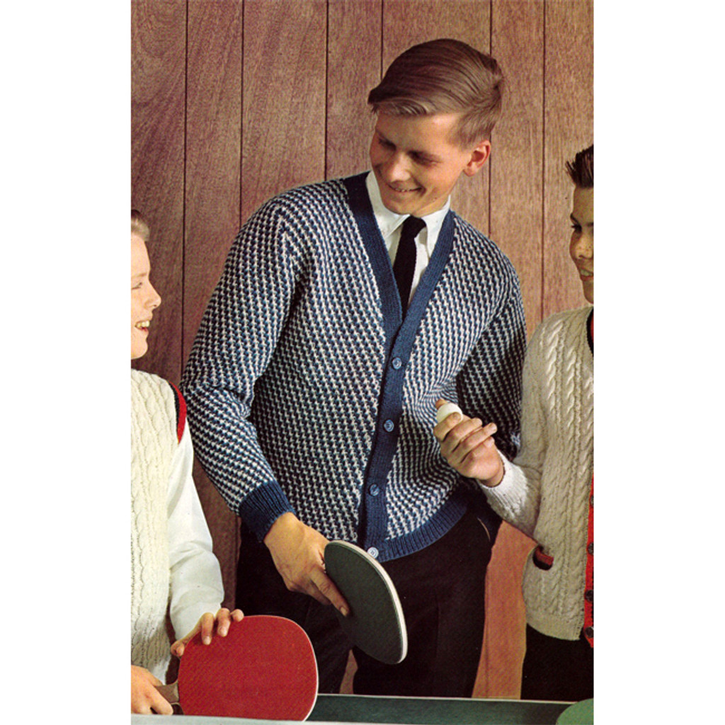 Teen Checked Cardigan Knitting Pattern
