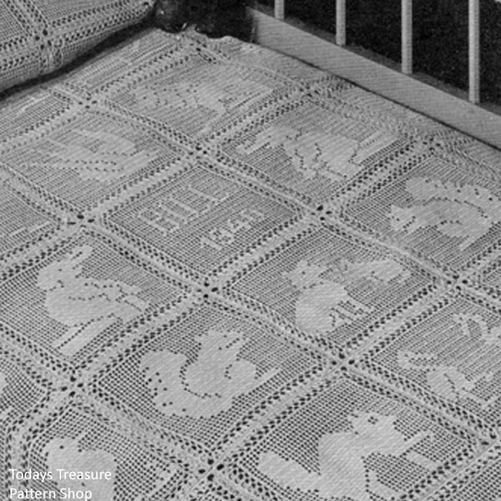 Animal Motif Crib Blanket In Filet Crochet