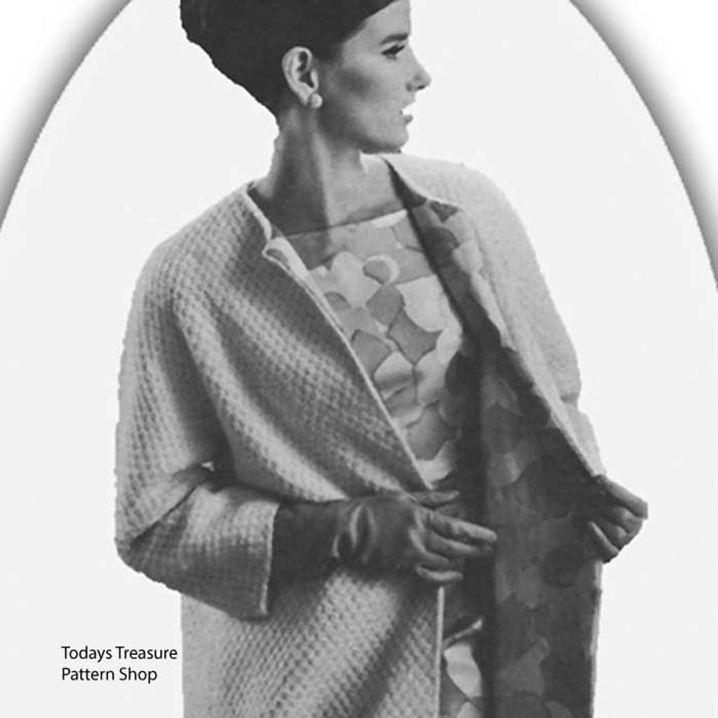 Collarless Coat Knitting pattern, vintage 1960s