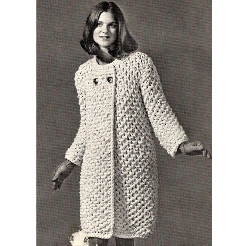 Knitting Pattern Honeycomb Coat, Knee Length