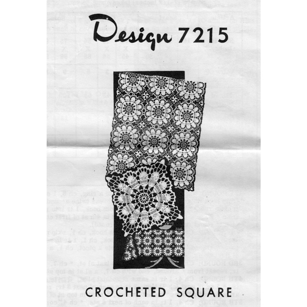 Design 7215, Mail Order Flower Square Crochet pattern
