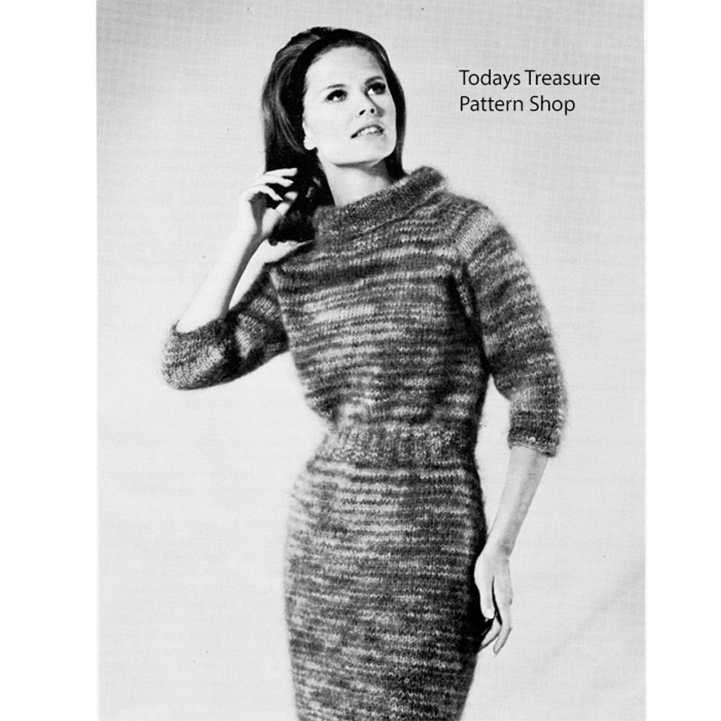 Mohair Dress Knitting Pattern, Vintage 1960s