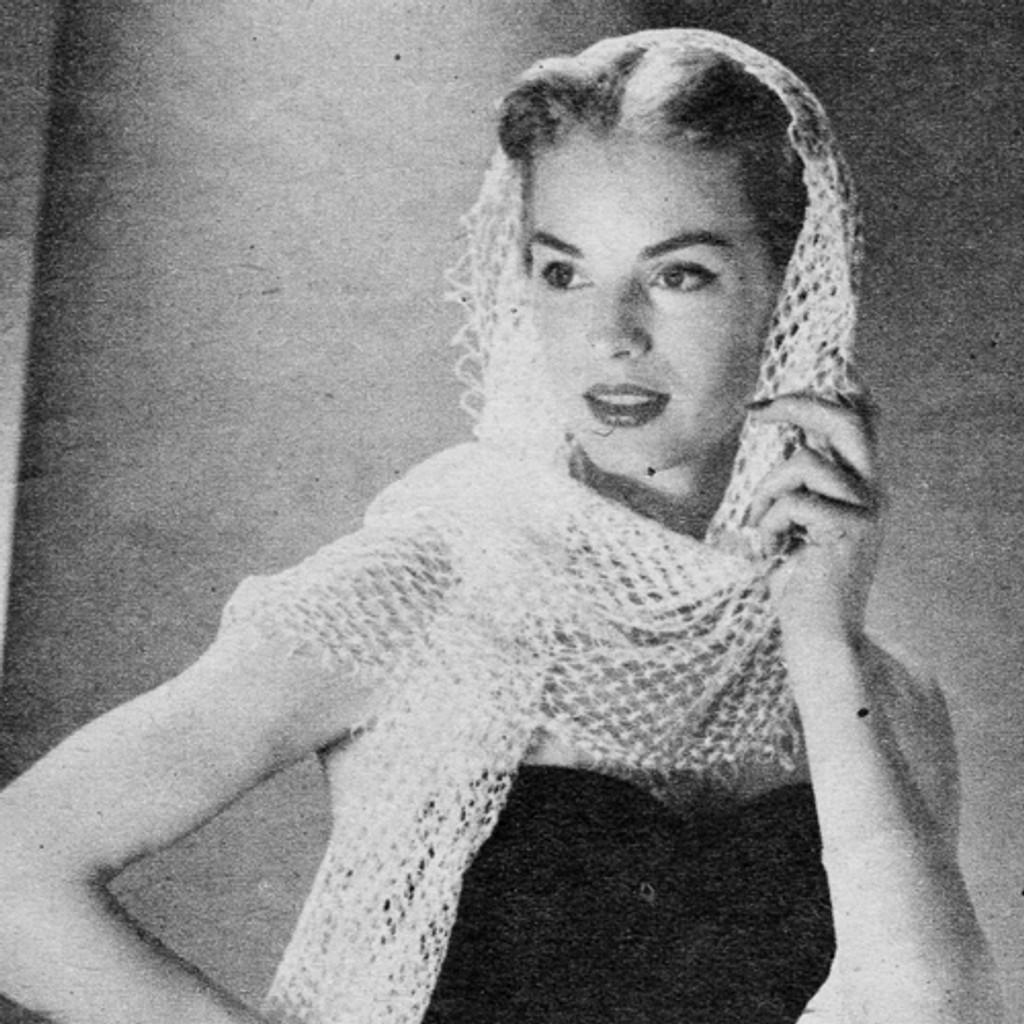 Crochet Knot Stitch Scarf Pattern, Vintage 1950s