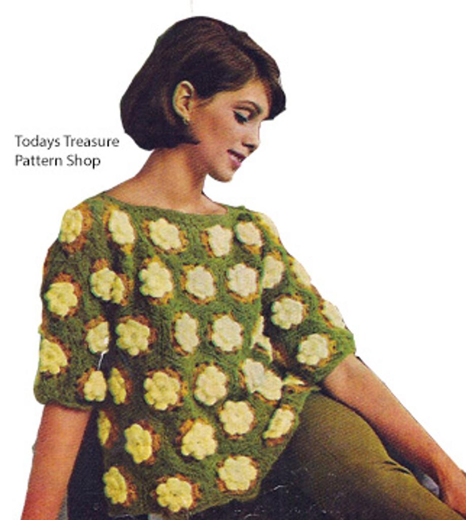Crochet Flower Medallion Sweater Pattern