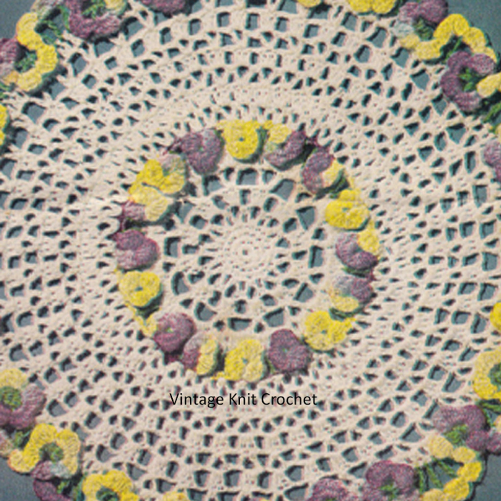 Flower Crochet Doily Pattern in Yellow Purple