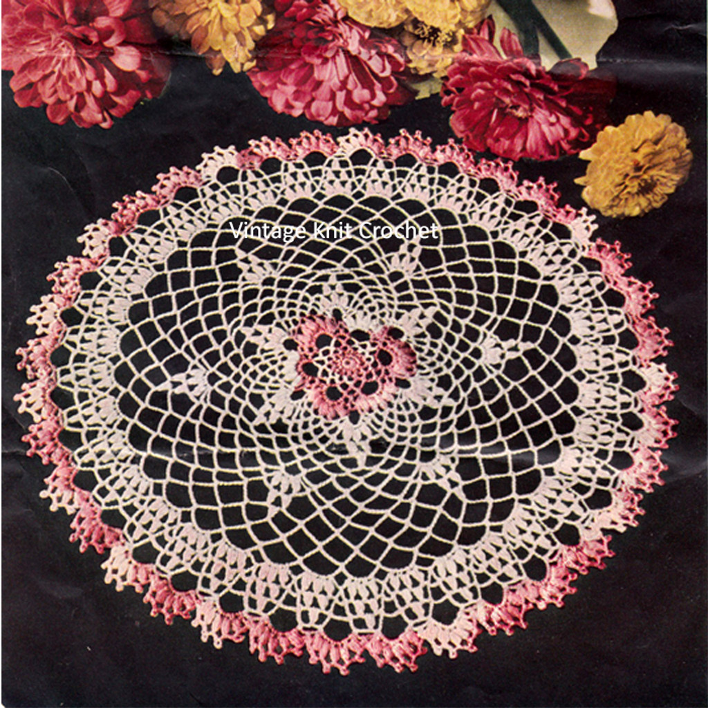 Crochet Vintage Pink and White Doily Pattern