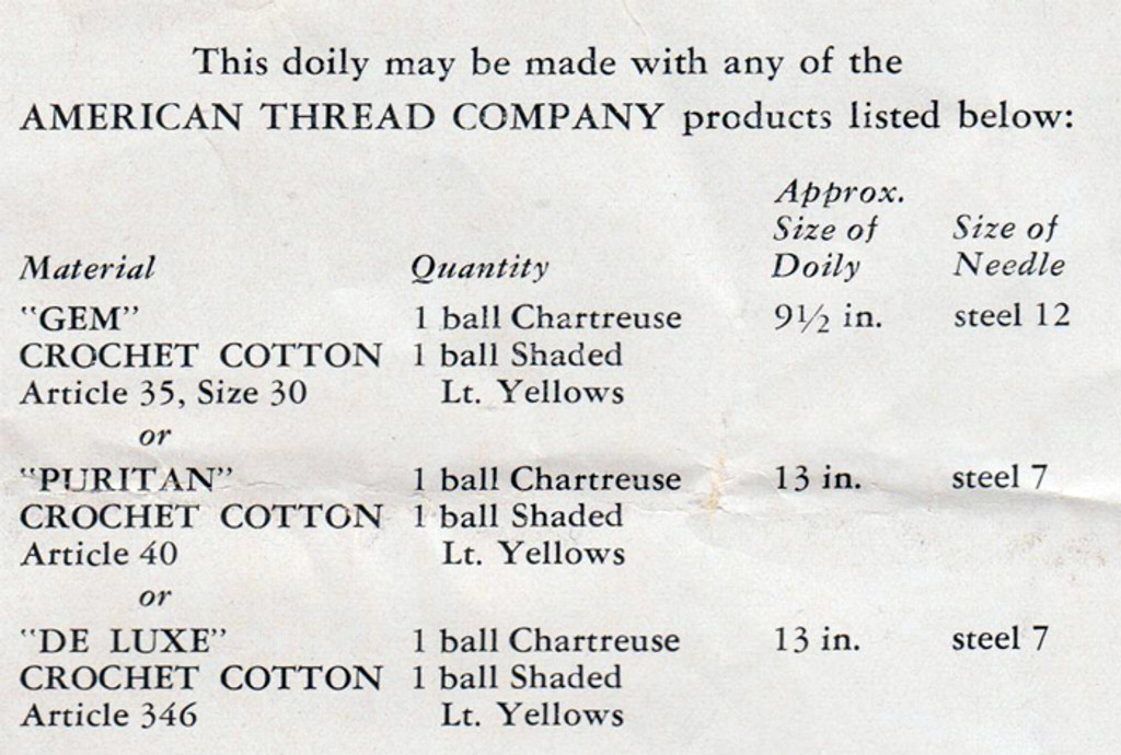 Crochet Material Requirements for Yellow and Chartreuse Doily