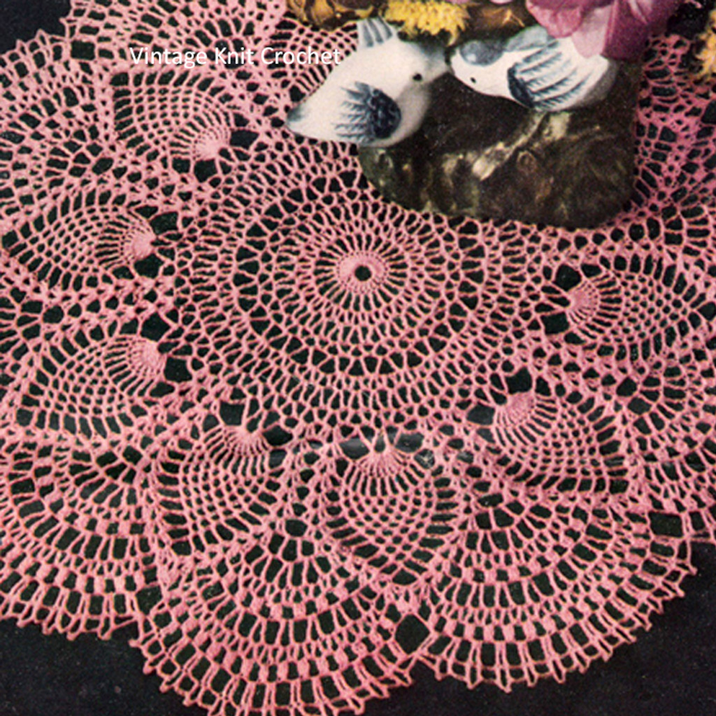Crochet Pattern Pineapple Doily with Shell Border