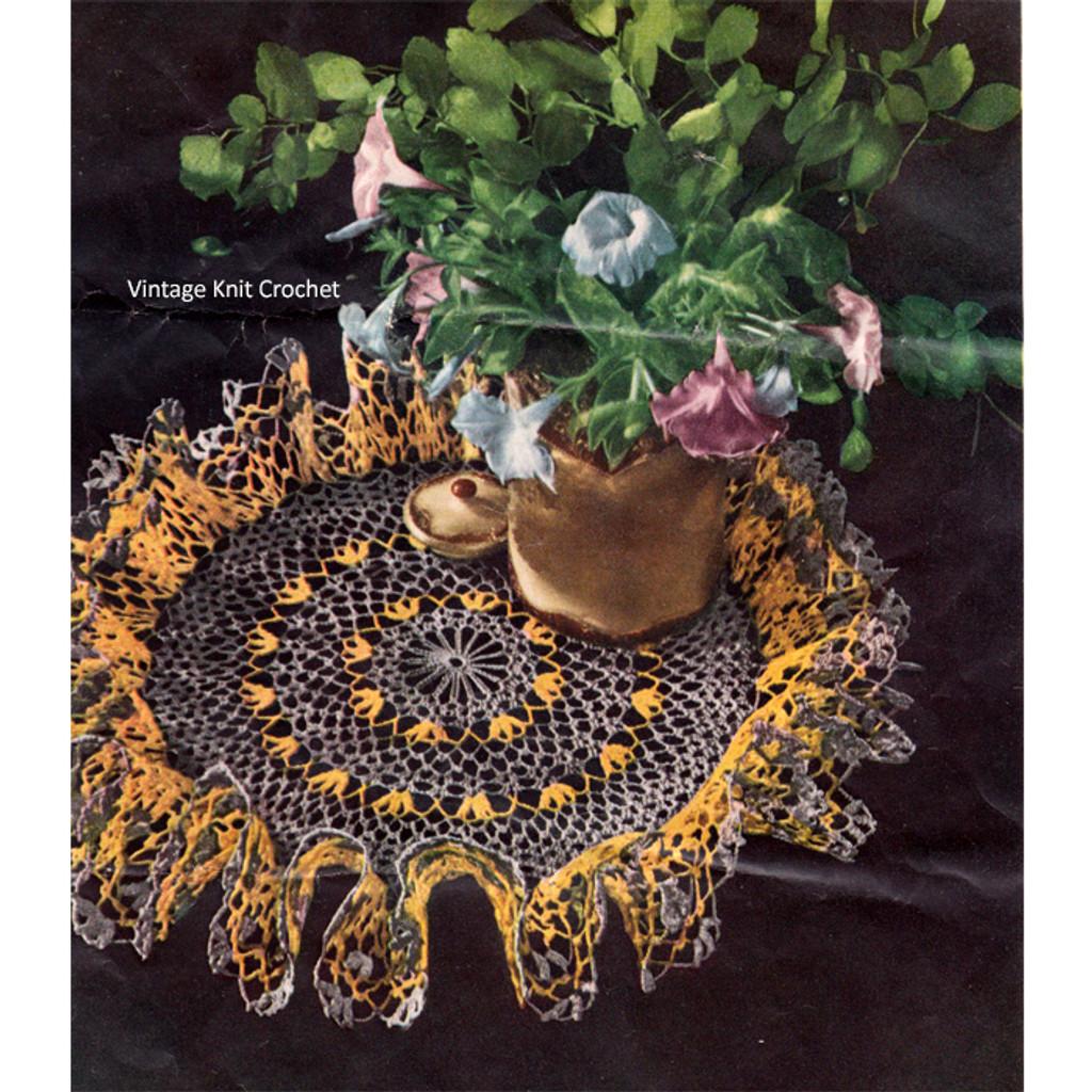 Gray Yellow Ruffled Doily Crochet Pattern