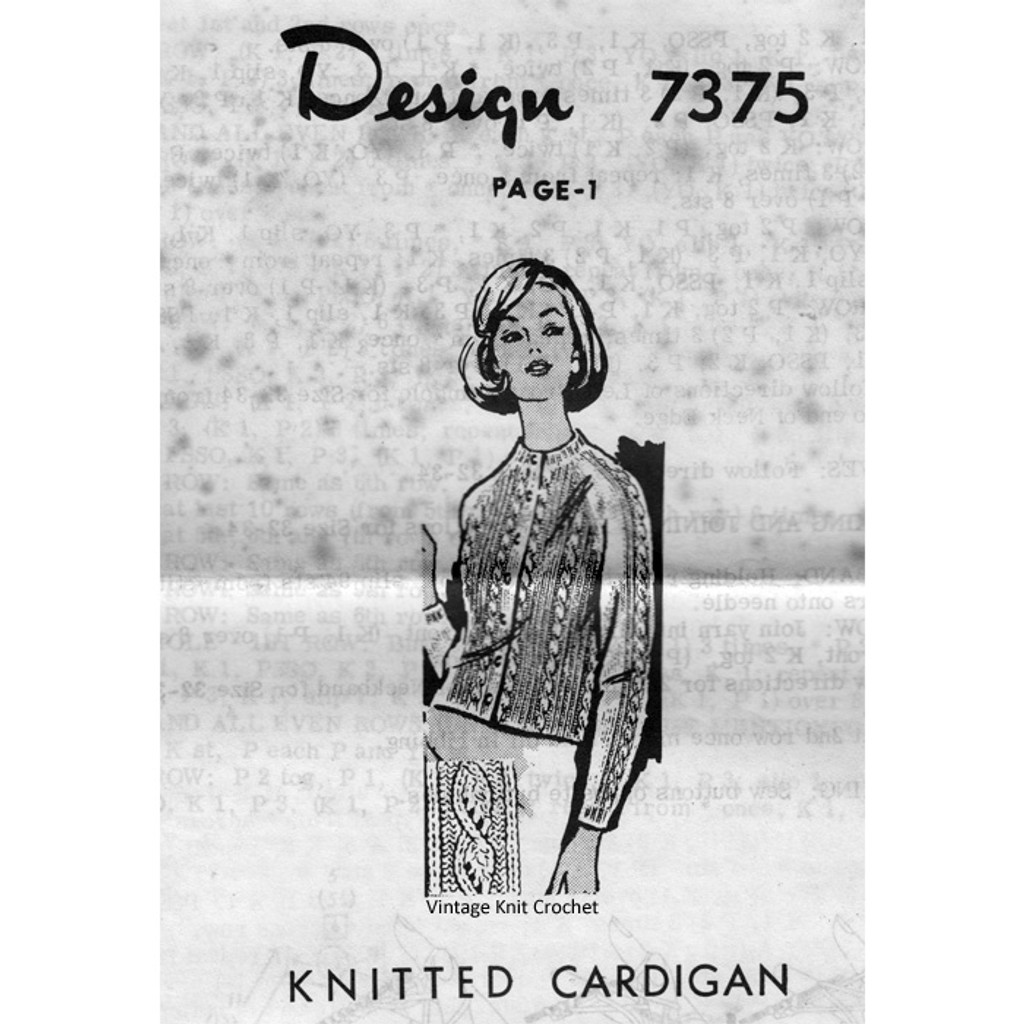 Cable Cardigan Knitting Pattern Design 7375