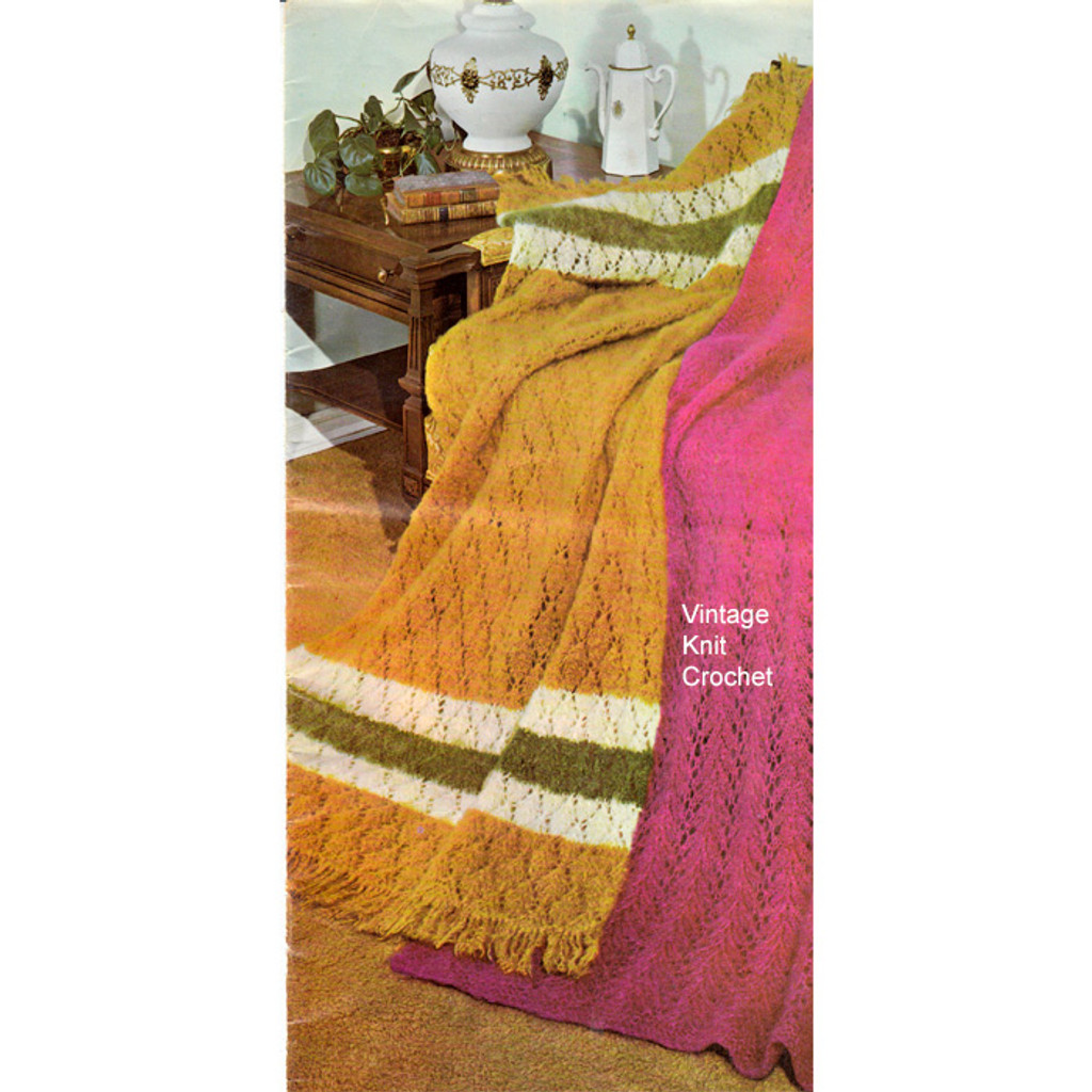 Easy Knitted Mohair Afghan Pattern, tri color stripes