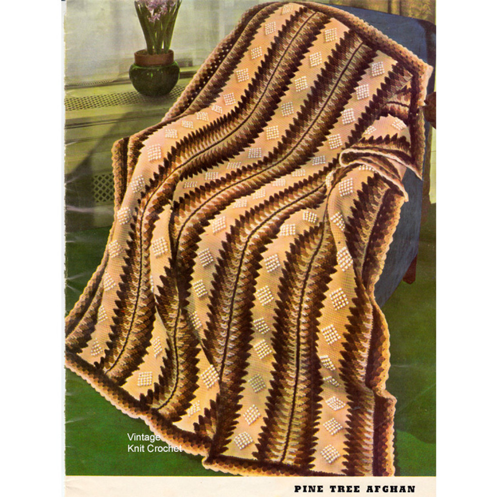 Vintage 1940's Crochet Pattern for Pine Tree Afghan No 2272