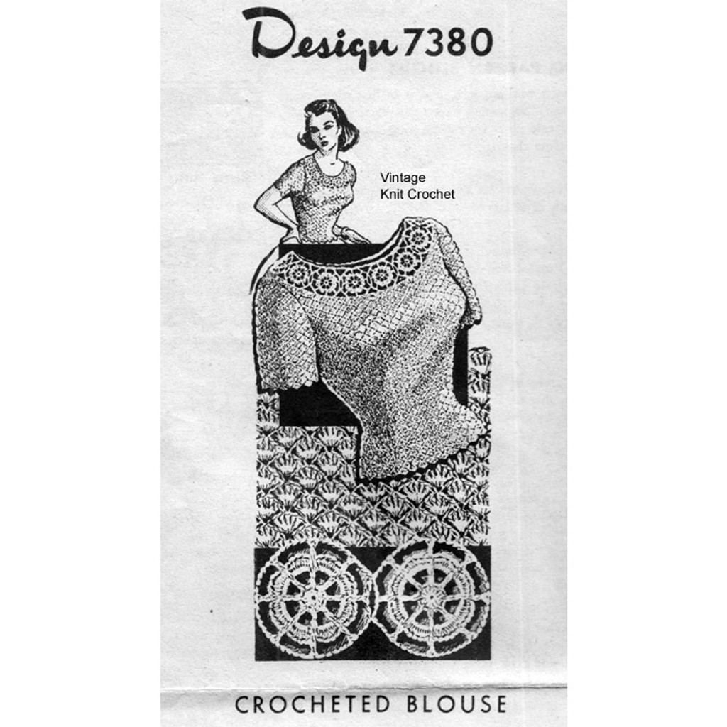 Crocheted Shell Blouse, Mail  Order Design Pattern 7380