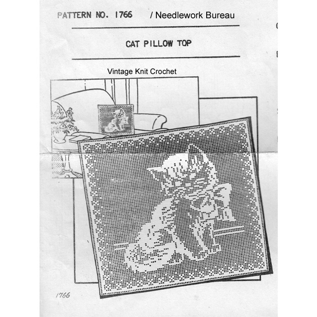 Filet Crochet Kitten Square Pillow Top Pattern 1766
