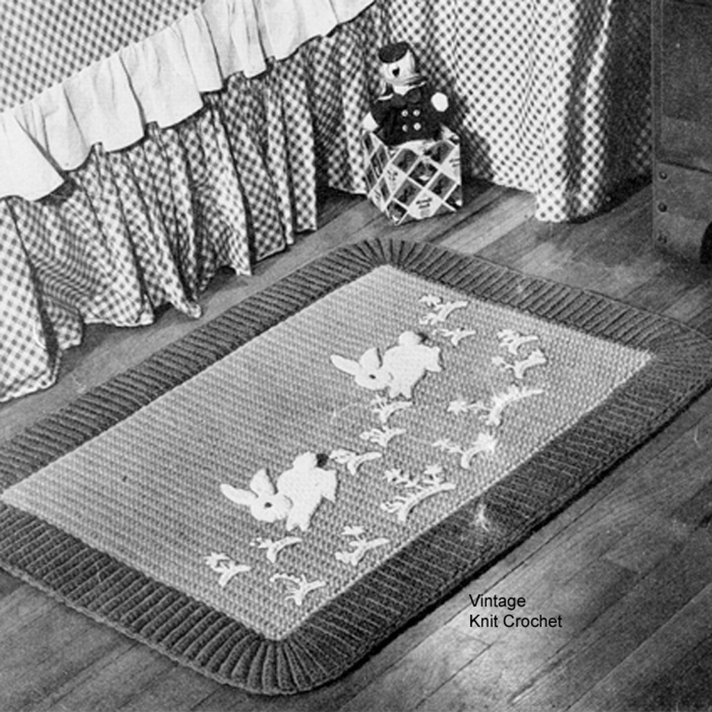 Crochet Childs Rug Pattern, Bunny Motif