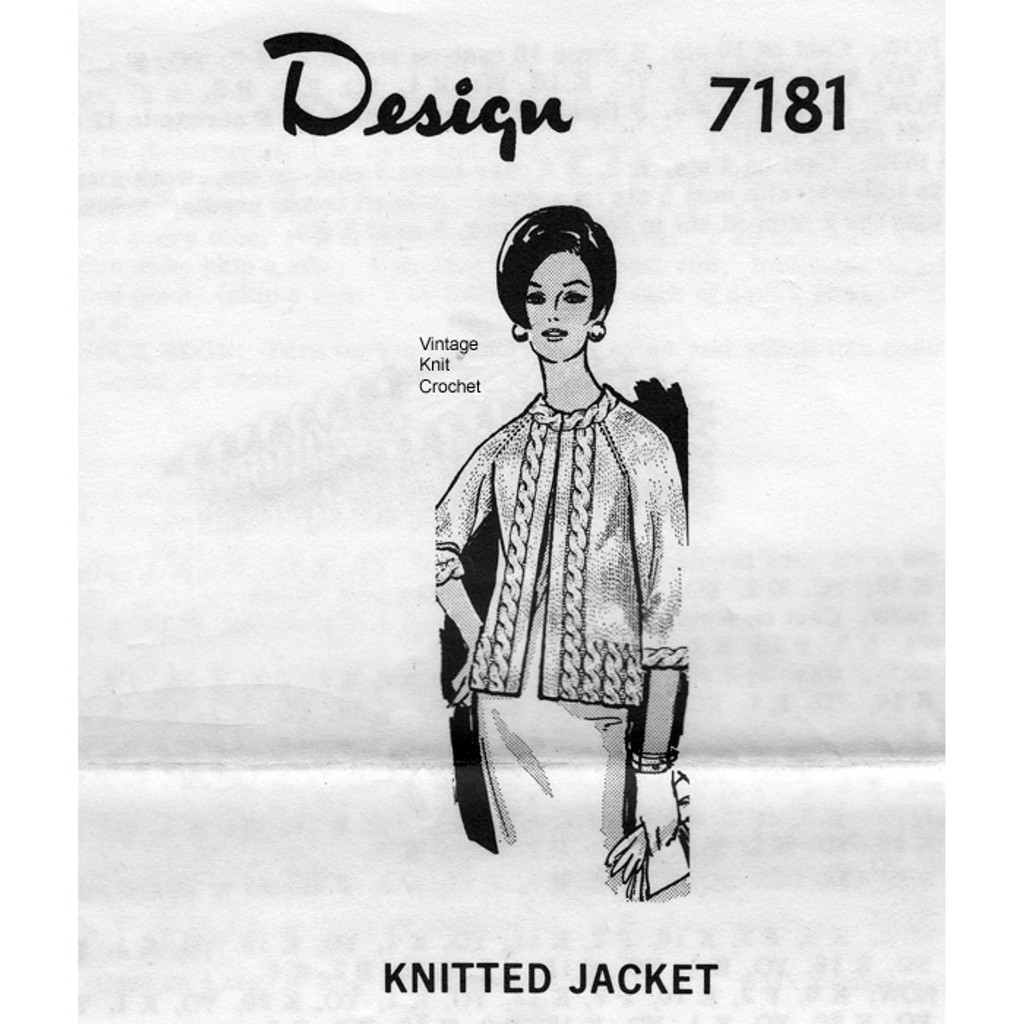 Plus Size Knitted Jacket Pattern Cables, Mail Order Design 7181