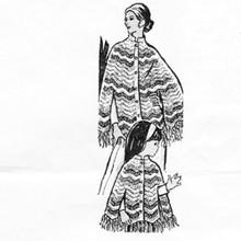 Crochet Poncho Pattern, Chevron Stripes Design 7463